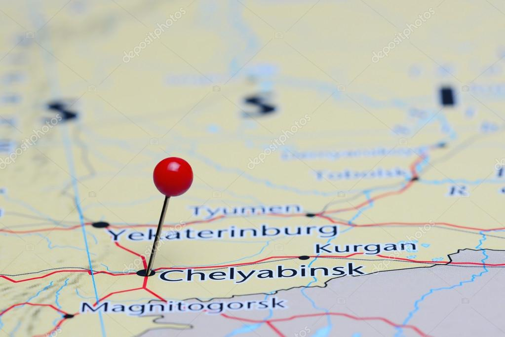 Chelyabinsk pinned on a map of Asia Stock Photo dkphotos 83902902