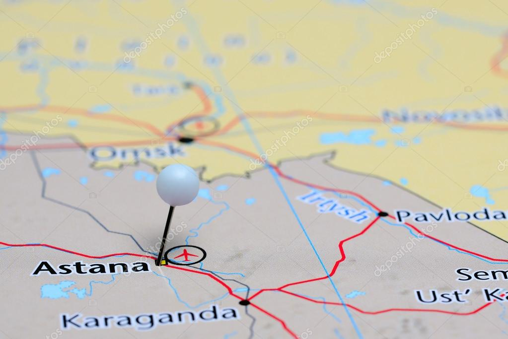 Astana Pinned On A Map Of Asia Stock Photo Dkphotos - astana map