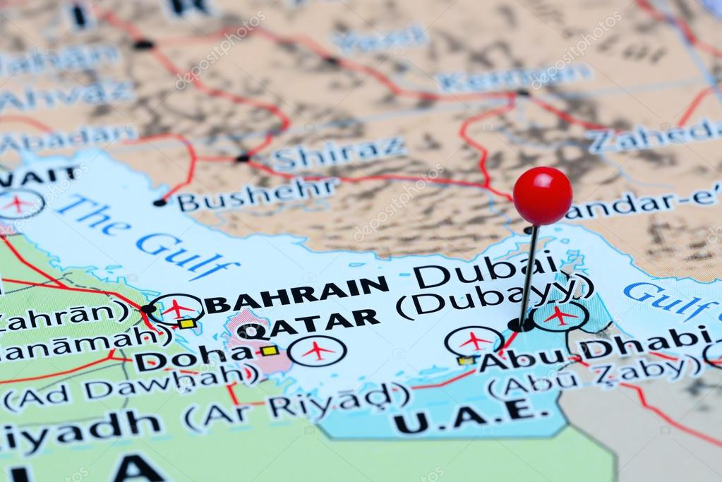 Map Of Asia Dubai.Dubai Pinned On A Map Of Asia Stock Photo C Dk Photos 85509168