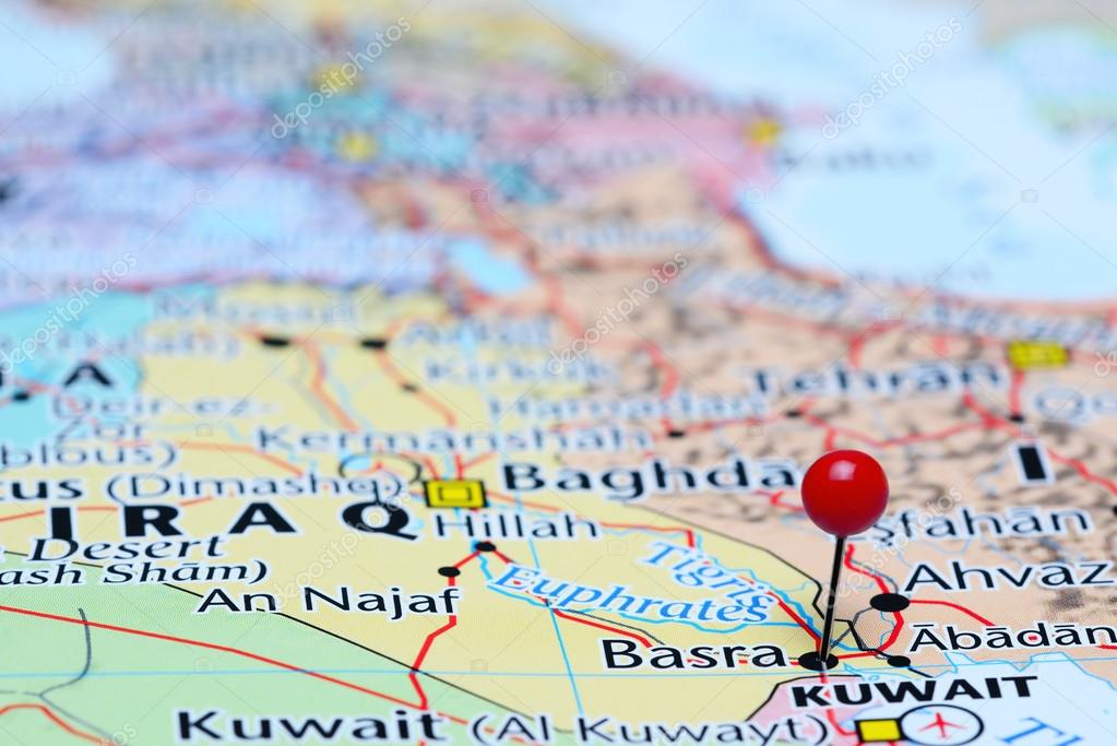 photo of pinned basra on a map of asia may be used as illustration for traveling theme photo by dk_photos
