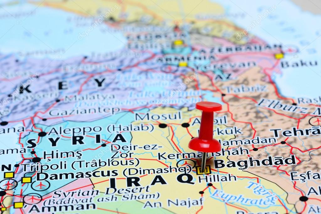 baghdad pinned on a map of asia stock photo