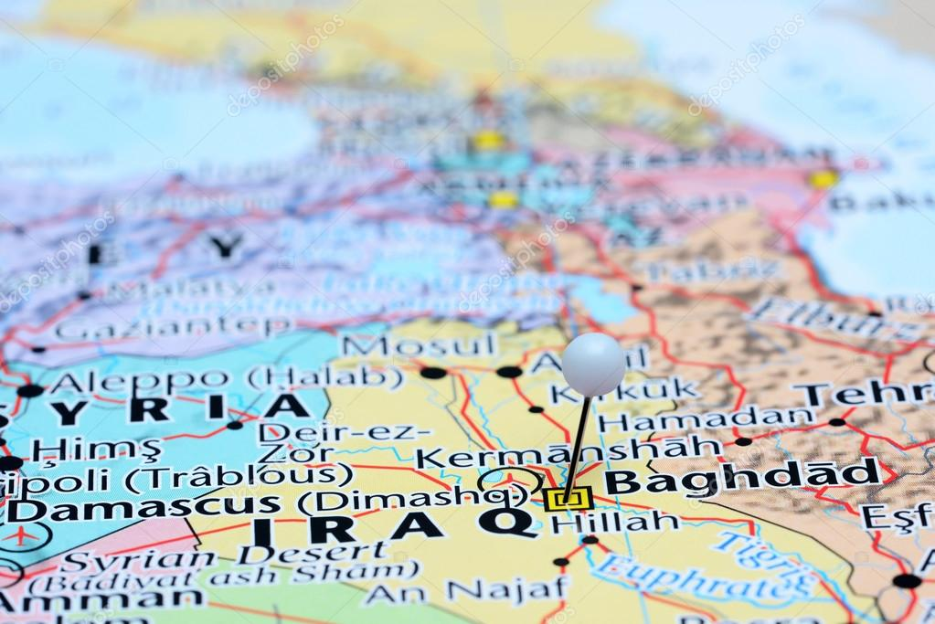 Baghdad pinned on a map of Asia — Stock Photo © dk_photos #85509528