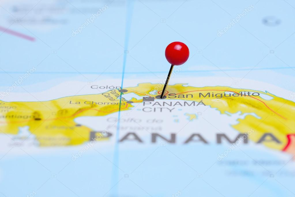 San Miguelito pinned on a map of America Stock Photo dkphotos