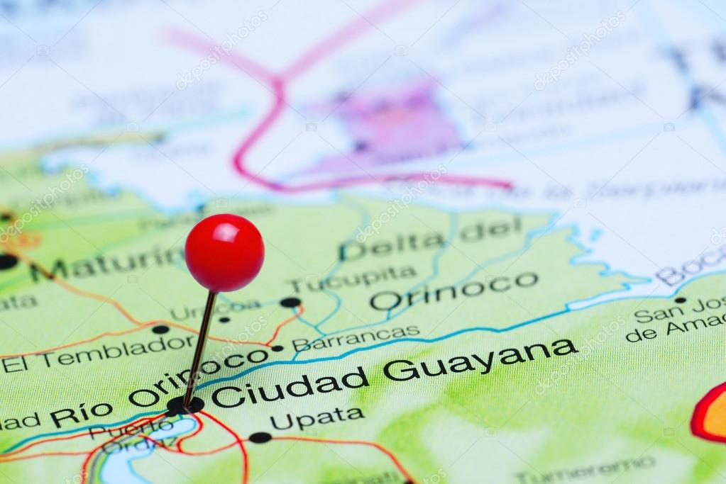 Ciudad Guayana pinned on a map of America Stock Photo dkphotos