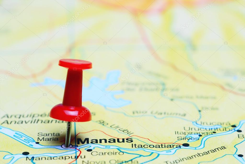 Manaus pinned on a map of Brazil — Stock Photo © dk_photos #88827920