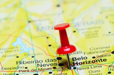 Belo Horizonte pinned on a map of Brazil