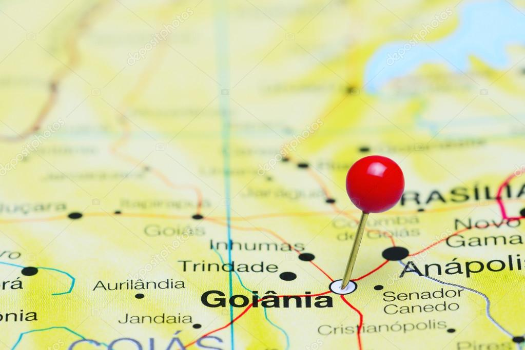 Goiania pinned on a map of Brazil Stock Photo dkphotos 88831928