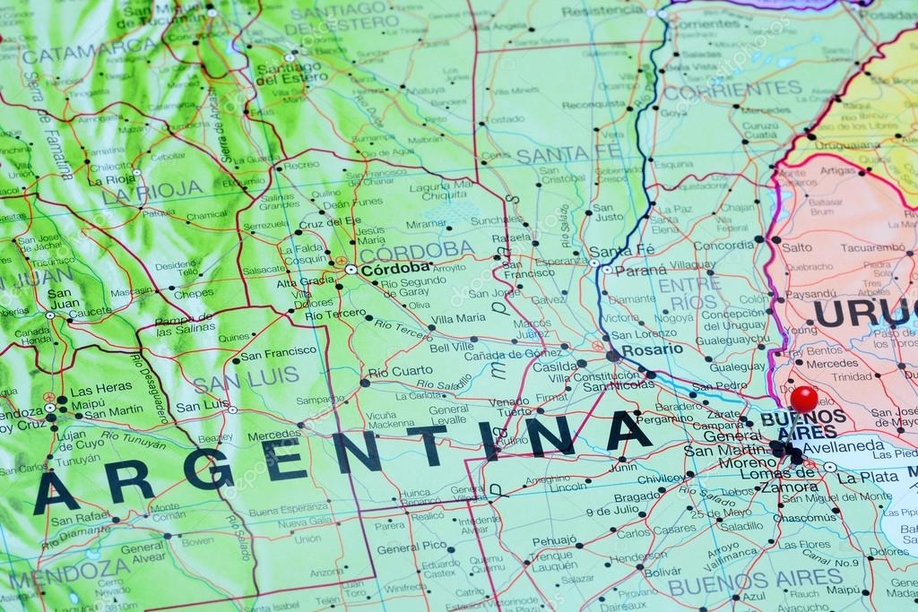 Buenos Aires pinned on a map of Argentina — Zdjęcie stockowe