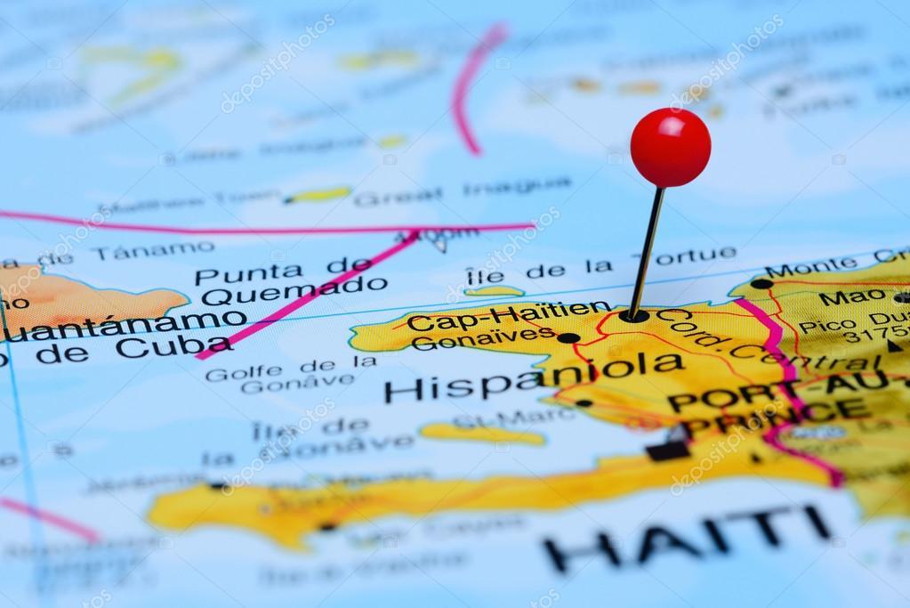 karta över haiti Cap Haitien fästs på en karta över Amerika — Stockfotografi  karta över haiti