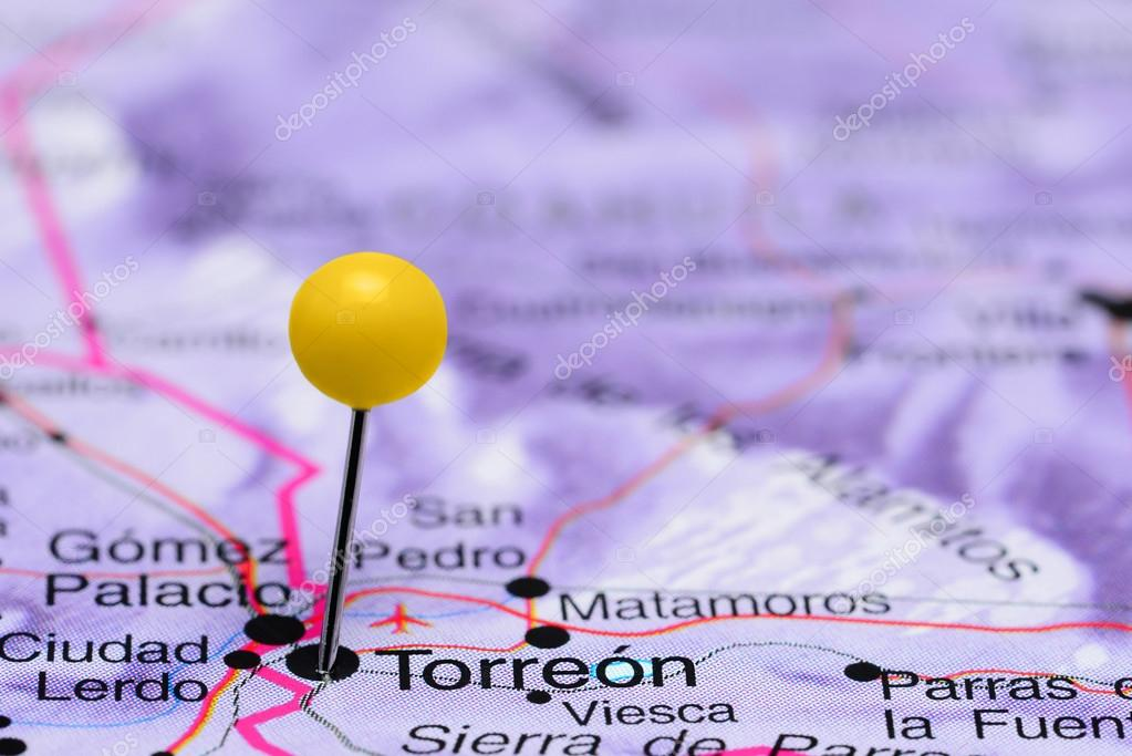 Torreon pinned on a map of Mexico — Stock Photo © dk_photos #90652134