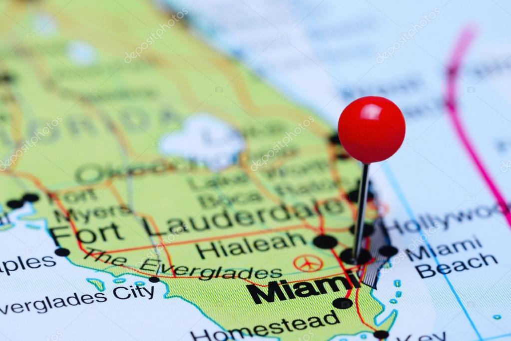 Miami Mapa Estados Unidos.Miami En Un Mapa De Estados Unidos Fotos De Stock