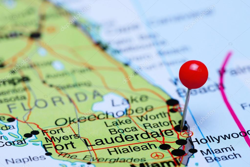 Fort Lauderdale pinned on a map of USA Stock Photo dkphotos