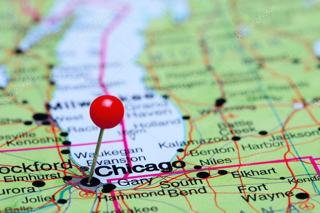 Karta Usa Chicago.Chicago Fasts Pa En Karta Over Usa Stockfotografi C Dk Photos