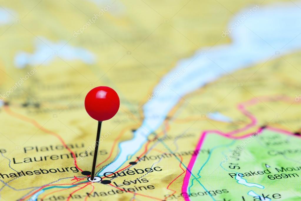 Quebec Karte.Quebec Fixiert Auf Einer Karte Von Kanada Stockfoto Dk Photos