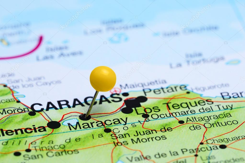 Maracay pinned on a map of America Stock Photo dkphotos 91100228