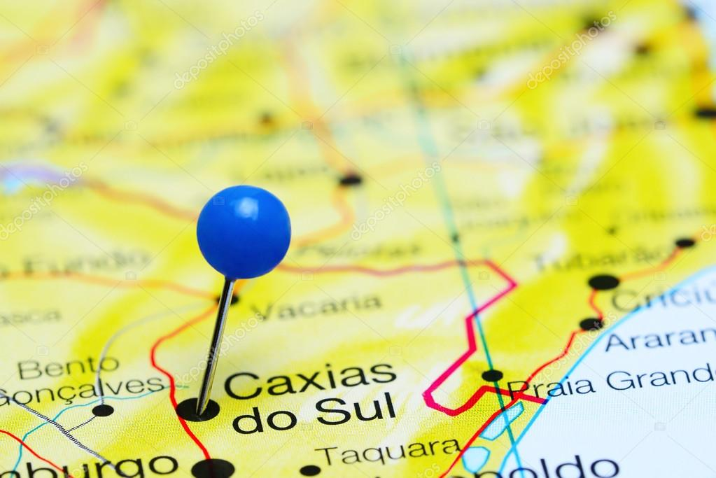 Caxias do Sul pinned on a map of Brazil Stock Photo dkphotos