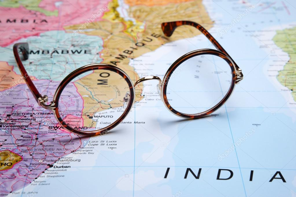 Glasses on a map - Maputo — Stock Photo © dk_photos #93665494