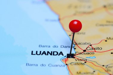 Luanda pinned on a map of Africa