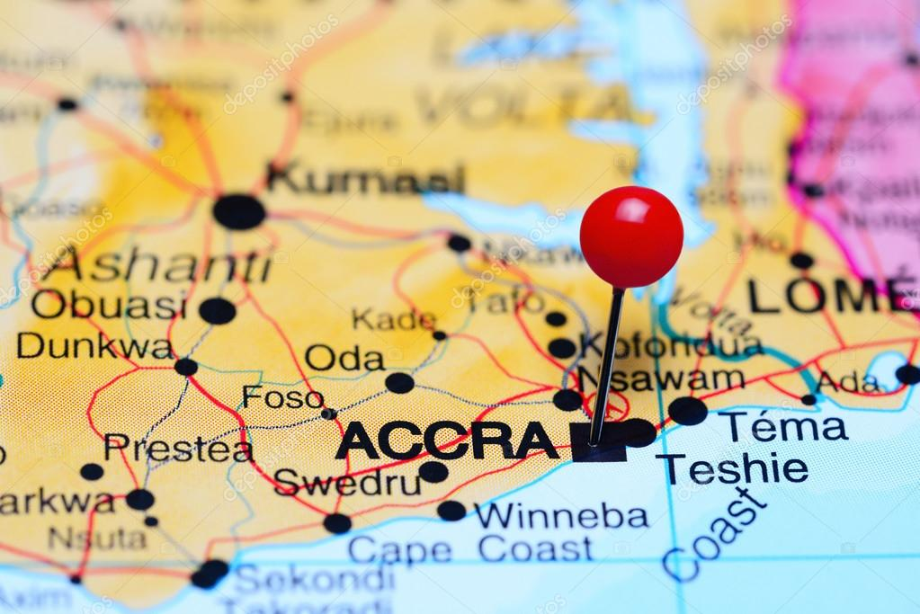 Accra pinned on a map of Africa Stock Photo dkphotos 93770232