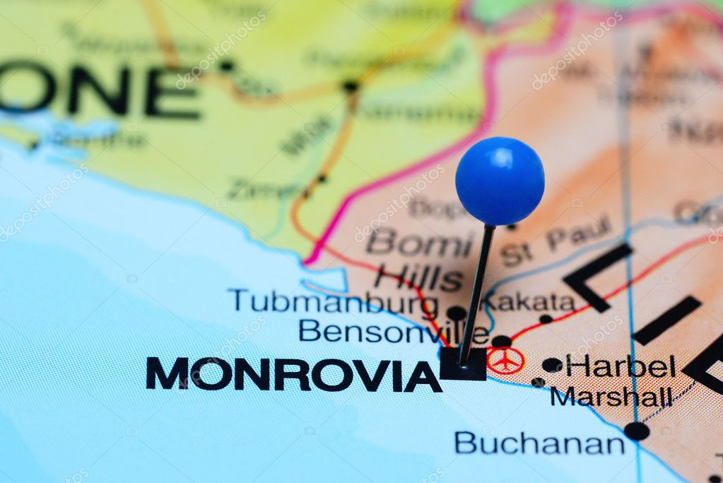 Monrovia Pinned On A Map Of Africa Stock Photo C Dk Photos 93770236