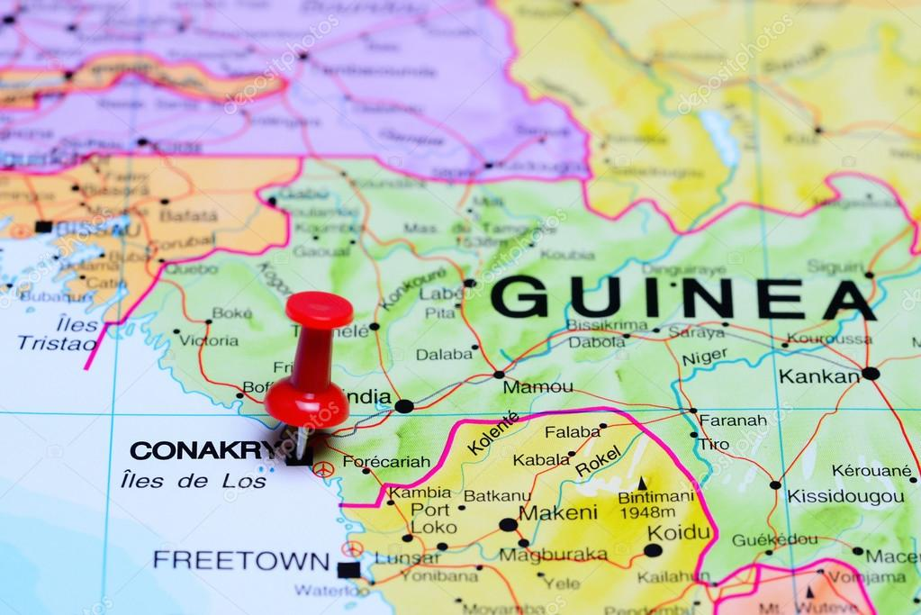 Conakry pinned on a map of Africa Stock Photo dkphotos 93770300