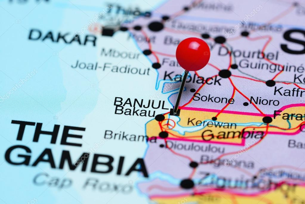 Banjul pinned on a map of Africa Stock Photo dkphotos 93770364
