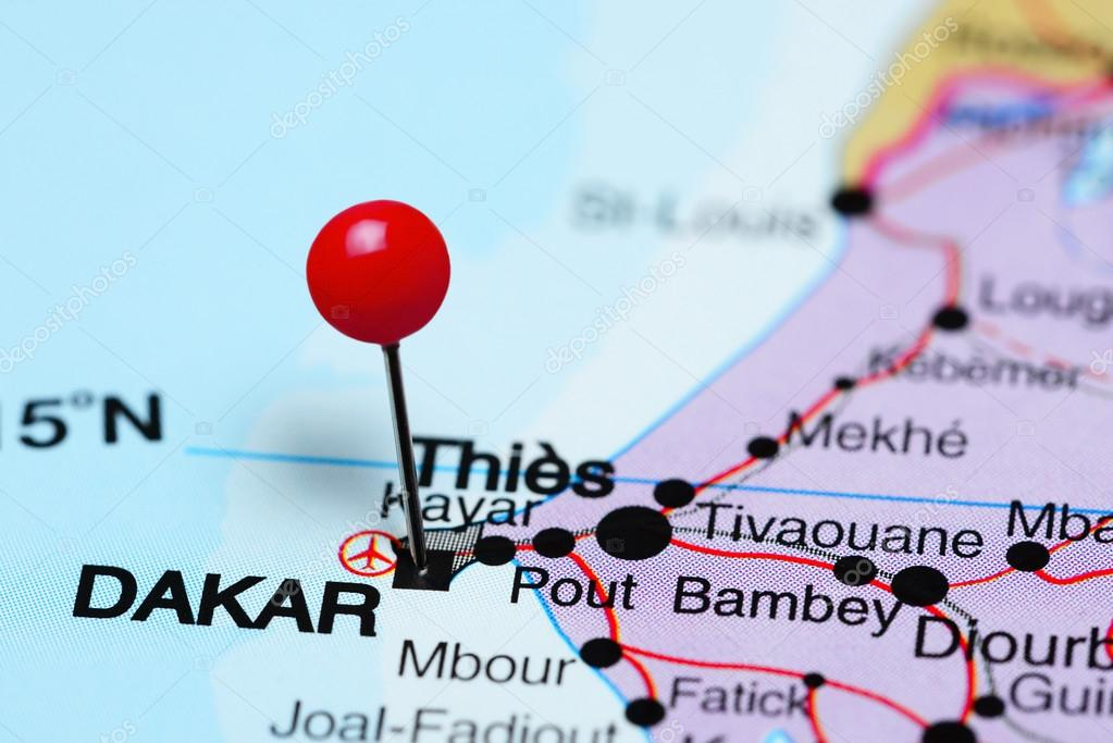 Dakar pinned on a map of Africa Stock Photo dkphotos 93770370