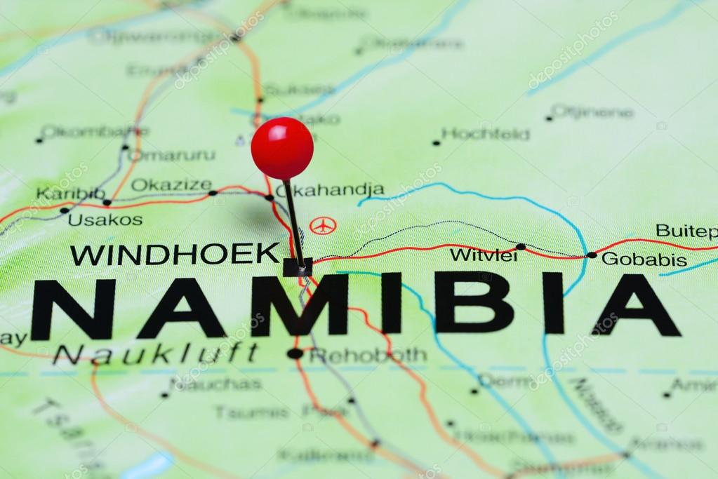 Windhoek pinned on a map of Africa Stock Photo dkphotos 93770556