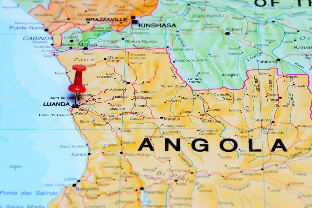 mapa luanda Fez o PIN em Luanda no mapa da África — Stock Photo © dk_photos  mapa luanda