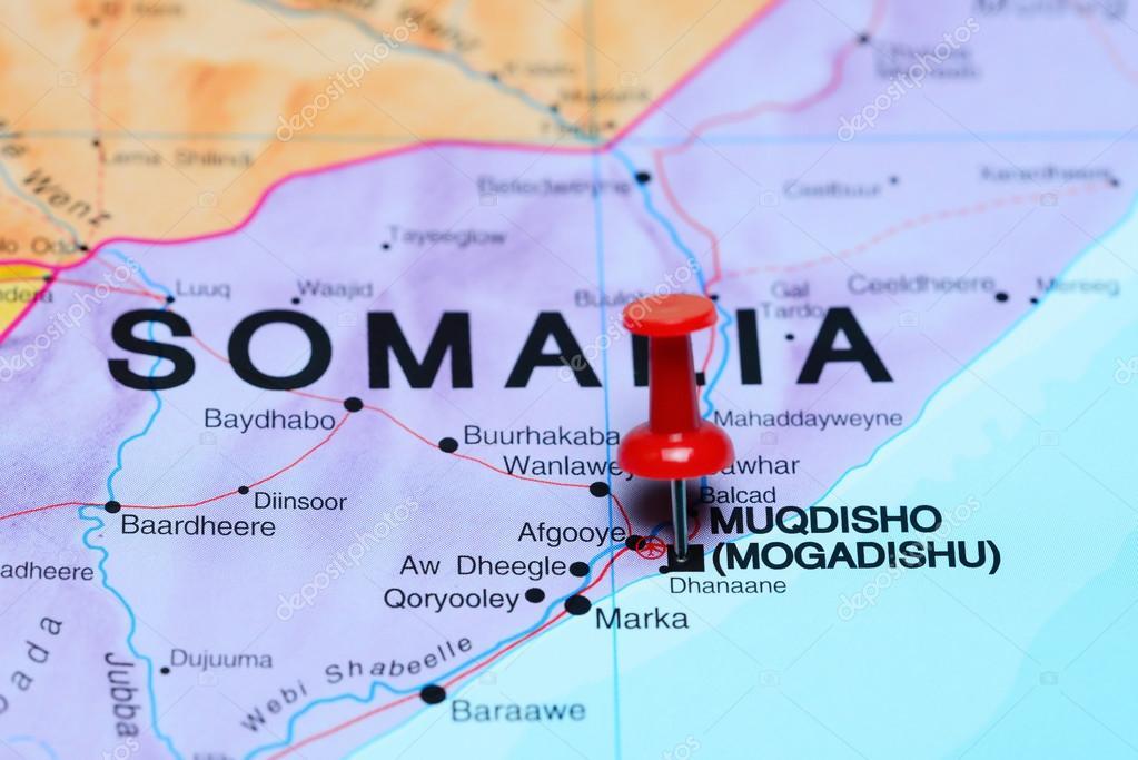 Mogadishu Africa Map.Mogadishu Pinned On A Map Of Africa Stock Photo