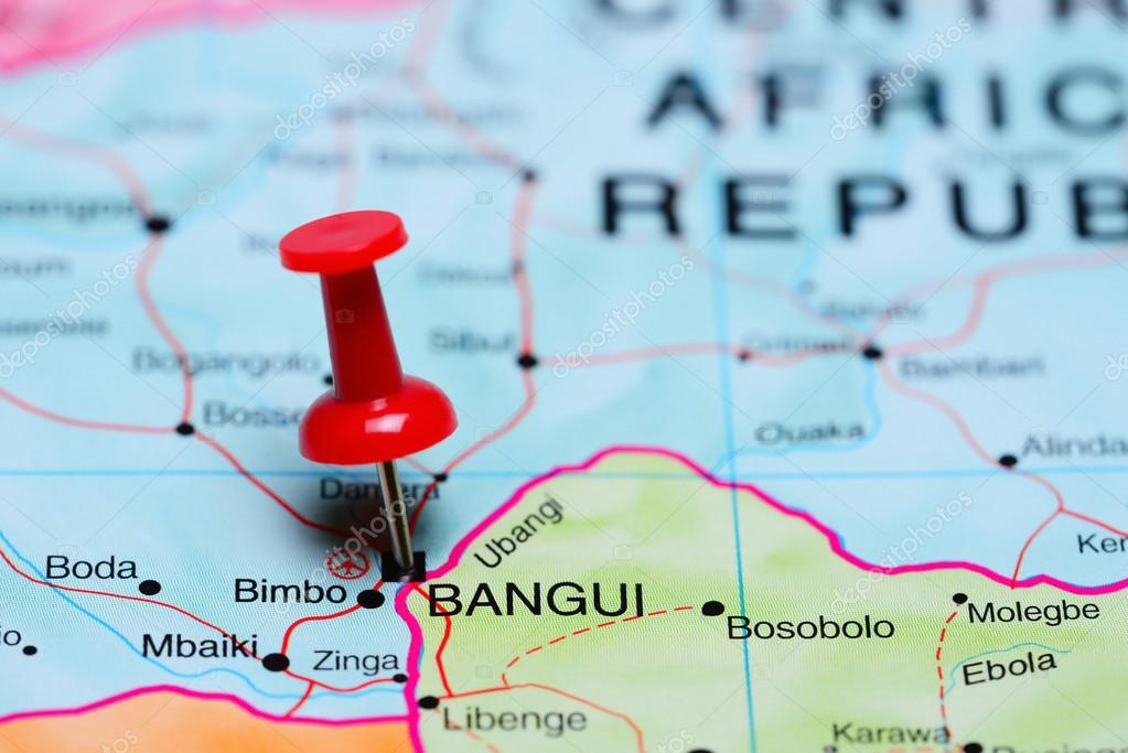Bangui pinned on a map of Africa Stock Photo dkphotos 93771266