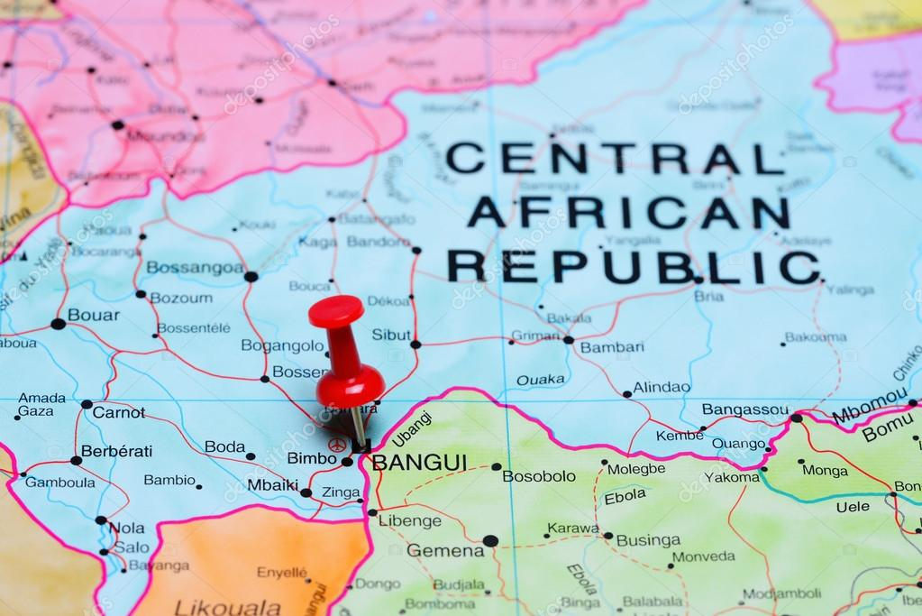 Bangui pinned on a map of Africa Stock Photo dkphotos 93771276
