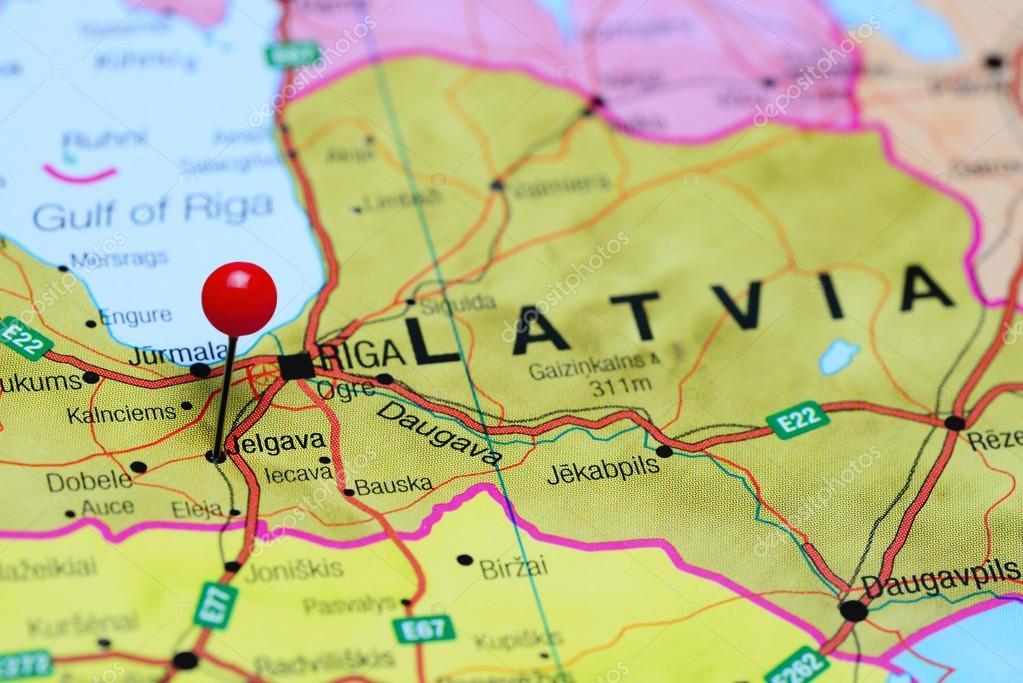 Jelgava pinned on a map of Latvia Stock Photo dkphotos 96417988