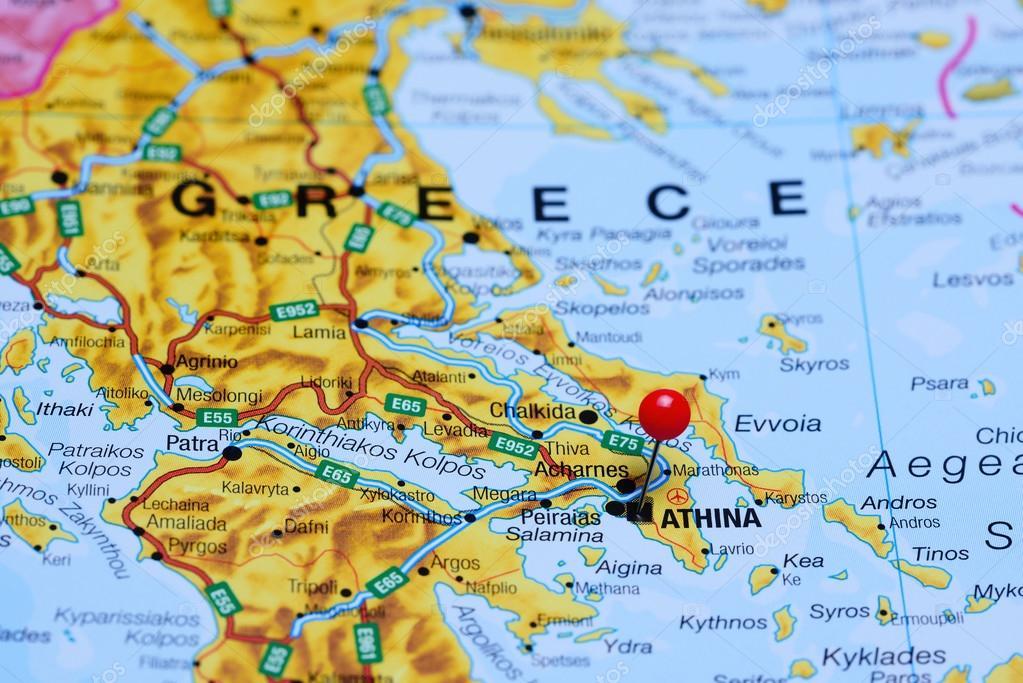 Karta Aten Grekland.Aten Fasts Pa En Karta Over Grekland Stockfotografi C Dk Photos