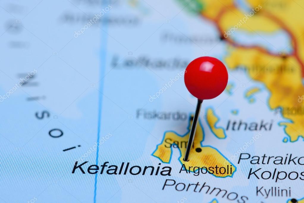Argostoli pinned on a map of Greece Stock Photo dkphotos 97390076