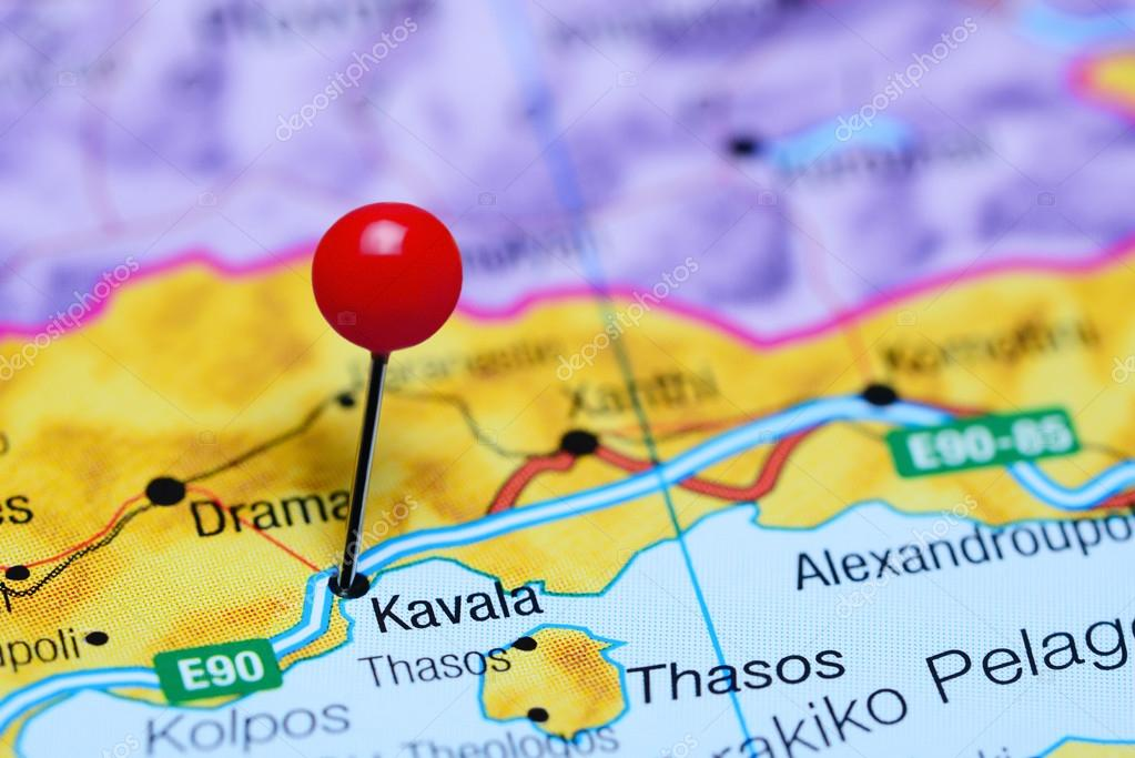 Kavala Pinned On A Map Of Greece Stock Photo C Dk Photos 97390166