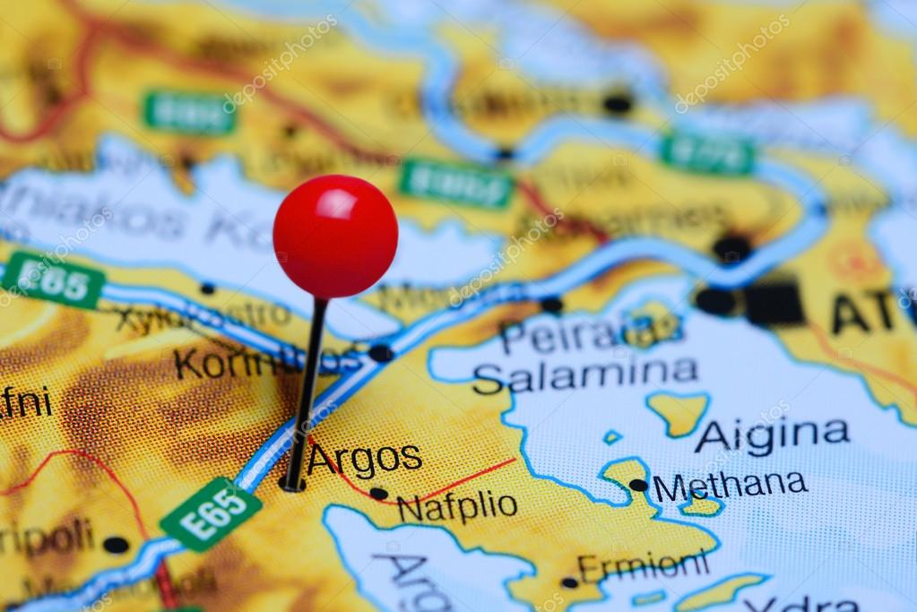 Argos Pinned On A Map Of Greece Stock Photo C Dk Photos