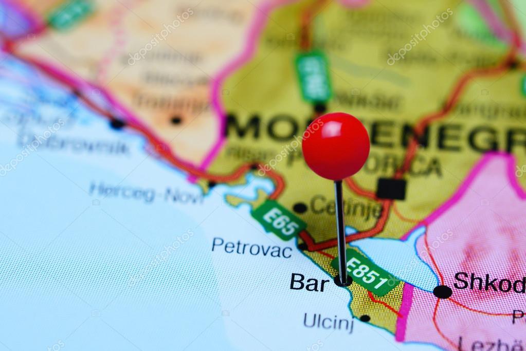 Bar Montenegro Karte.Bar Fixiert Auf Einer Karte Von Montenegro Stockfoto