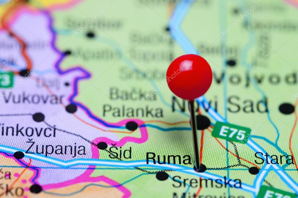 Ruma Pinned On A Map Of Serbia Stock Photo C Dk Photos 98798784