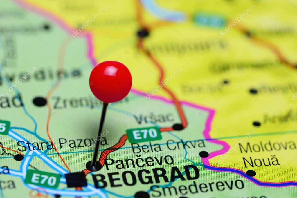 Pancevo Pinned On A Map Of Serbia Stock Photo C Dk Photos 98798874