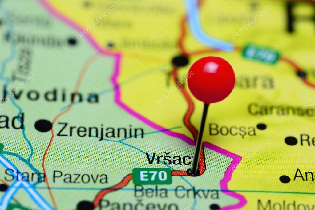 Vrsac pinned on a map of Serbia Stock Photo dkphotos 98798942