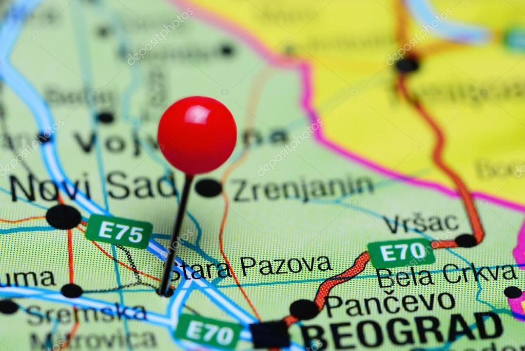 Stara Pazova Pinned On A Map Of Serbia Stock Photo C Dk Photos