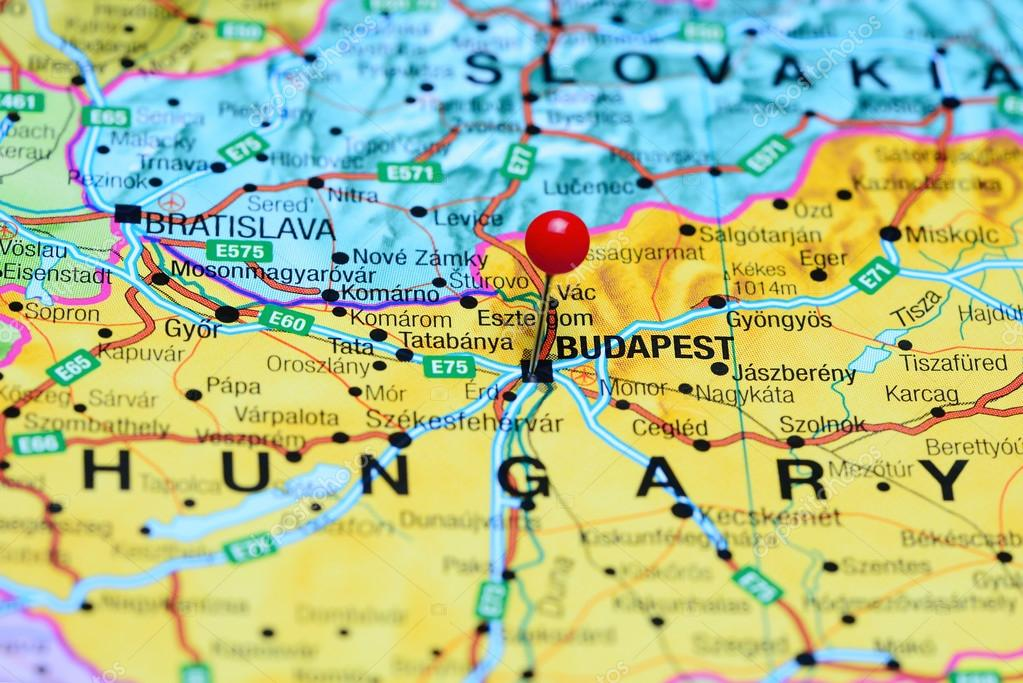 Budapest pinned on a map of Hungary Stock Photo dkphotos 99446182