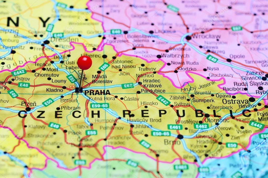 Karte Tschechien.Prag Fixiert Auf Einer Karte Von Tschechien Stockfoto Dk Photos