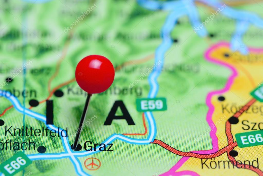 ausztria graz térkép Graz odatűzött ra egy Térkép Ausztria — Stock Fotó © dk_photos  ausztria graz térkép