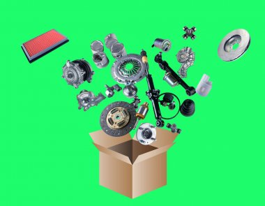 Many spare parts flying out of the box isolated on green screen
