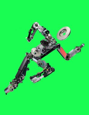 Many new spare parts in the form of running man isolated on green background