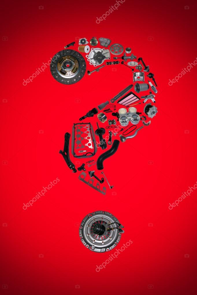 Fragezeichen mit Auto-Teile für Auto — Stockfoto © Dezay #116242566