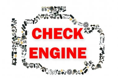 Check engine light symbol when something goes wrong with the engine.