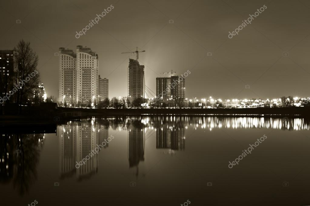 Black and white image of the city at night Kiev